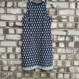 Ann Taylor size 0P dark blue embroidered dress